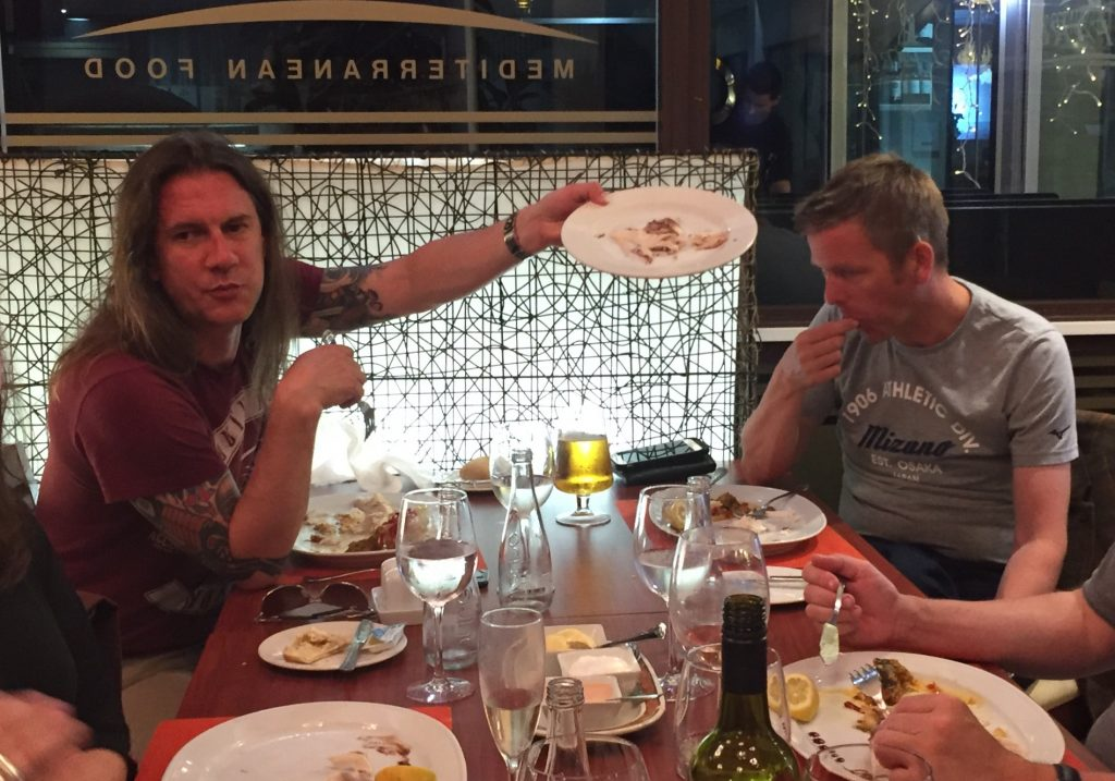 Rik Ferguson proudly demonstrating an empty plate