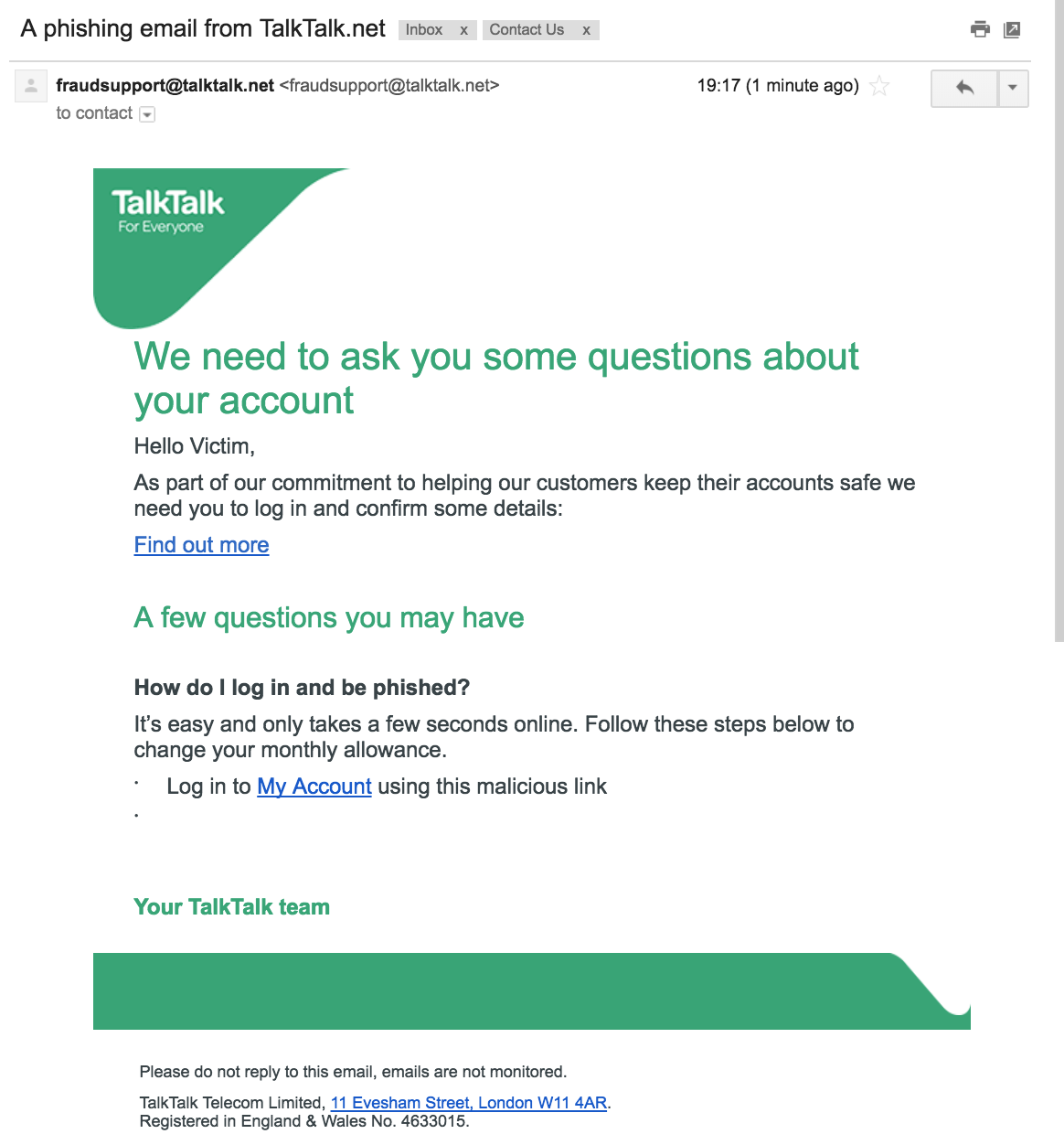 An example phishing email and what it might look like