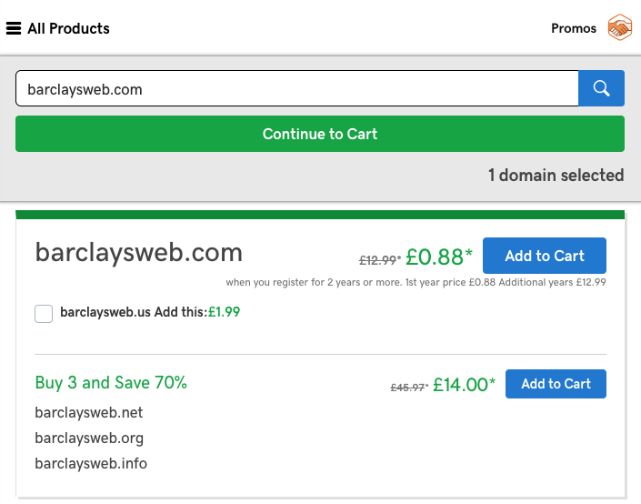 Picture of a godaddy basket barclaysweb.com is in the basket.