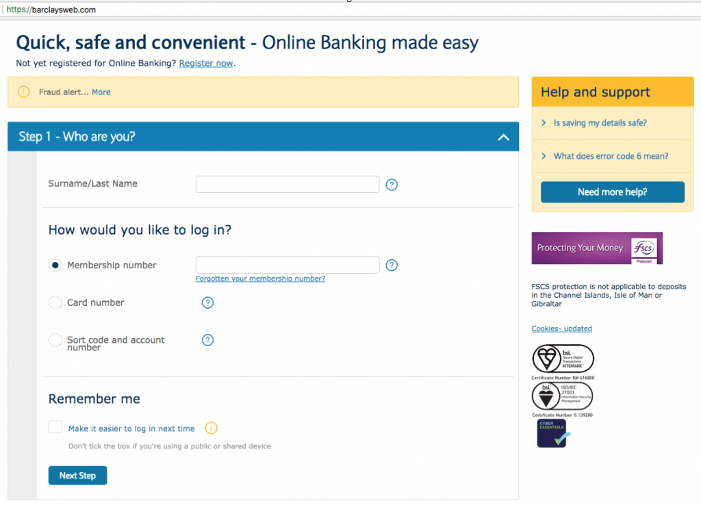 A screenshot of a spoofed/malicious banking log in.