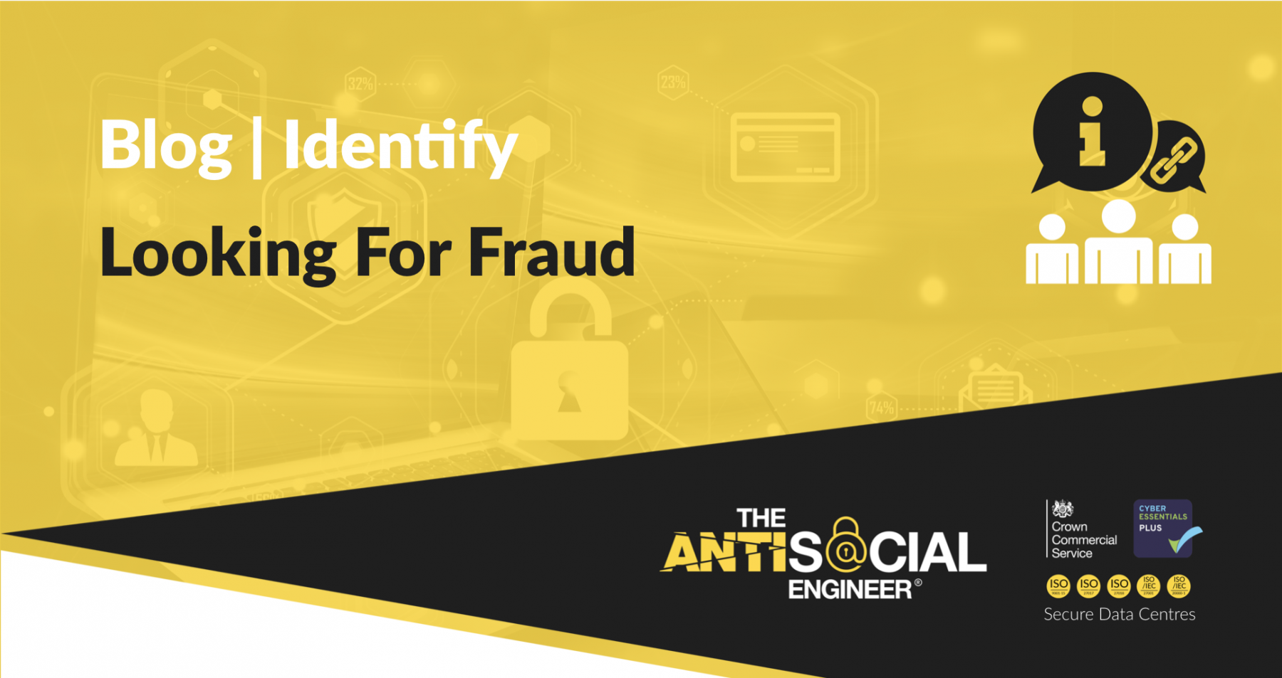 "HEader image for the blog, it's yellow and says ""Looking for fraud"""