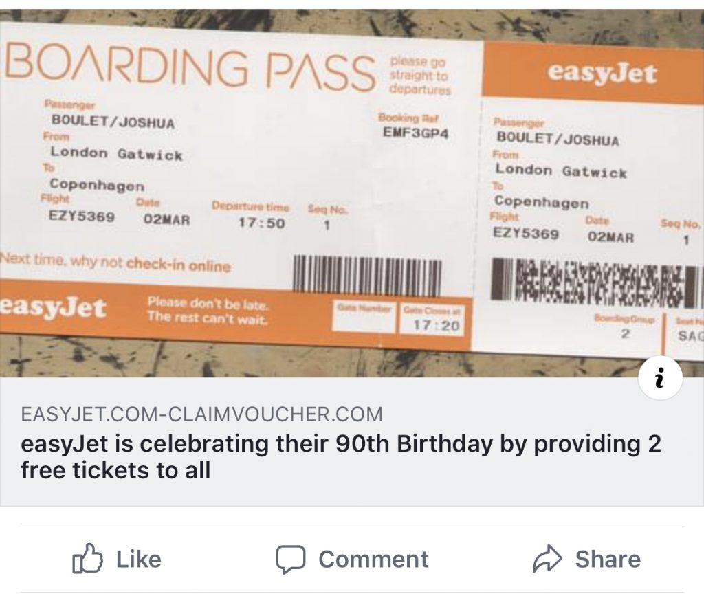 Picture of a scam facebook link that offers people free Easyjet tickets.