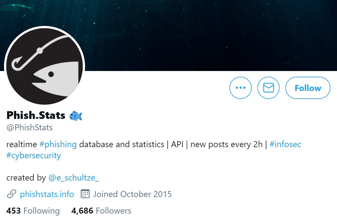 Screenshot of phishstats' Twitter page.