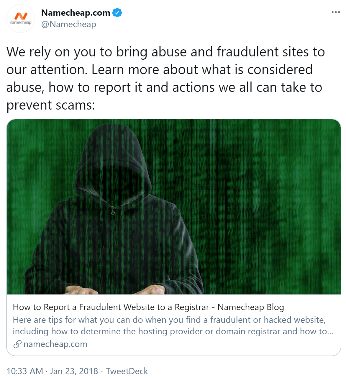"""Tweet from Namcheap reading """"We rely on you to bring abuse and fraudulent sites to our attention. Learn more about what is considered abuse, how to report it and actions we all can take to prevent scams:"""""""